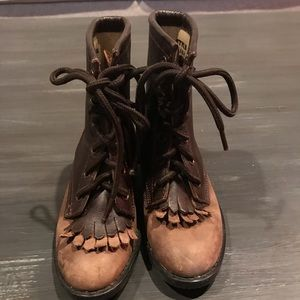 Other - Leather roper style lace up boots size 9